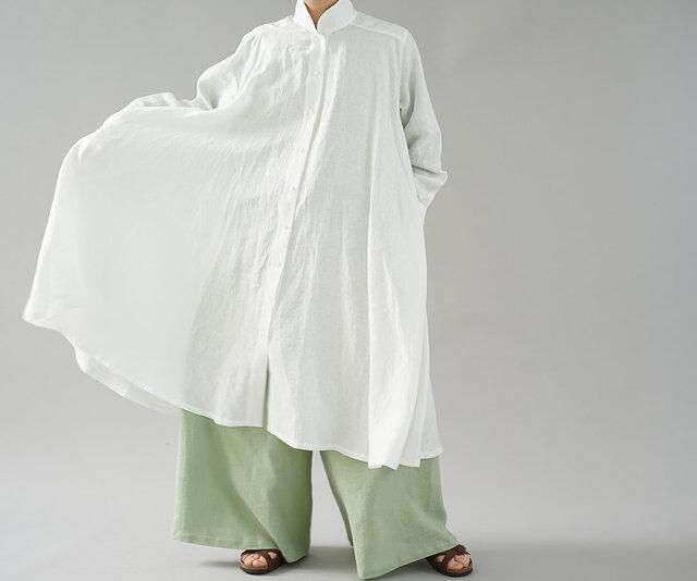【wafu】薄手 リネン ワンピース 羽織  ビック フレアワンピース 2way 長袖 / ホワイト a080a-wht1の画像1枚目
