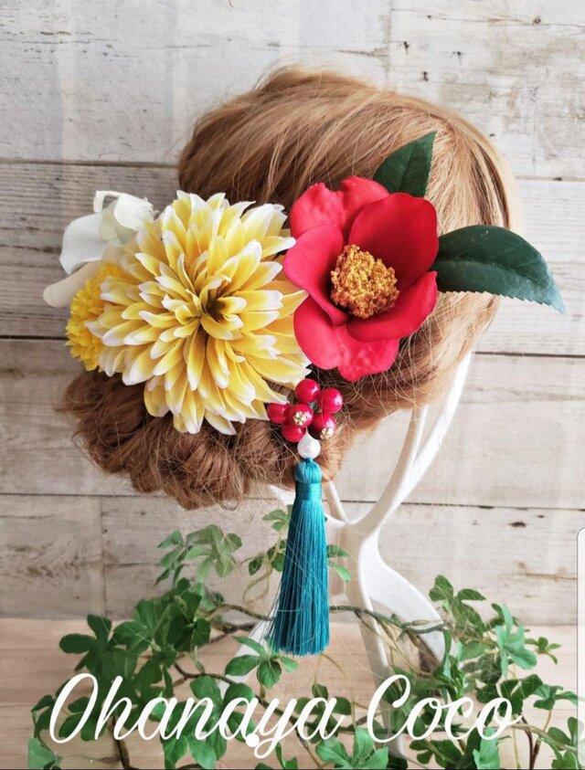 再販 花開く 椿と黄色ダリアの髪飾り6点Set No390の画像1枚目