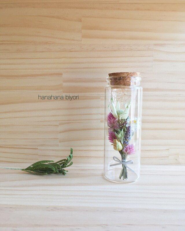 フランネルフラワーと小花のミニミニブーケの小瓶の画像1枚目