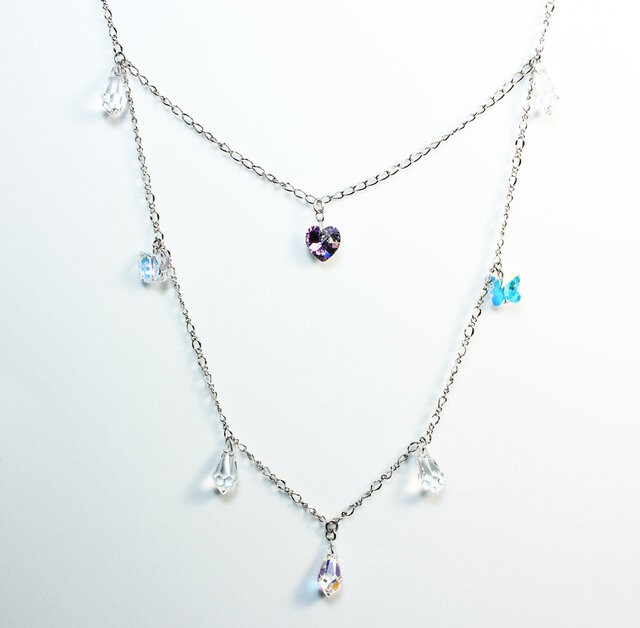 Heart Chandelier Necklace / Swarovski Crystalの画像1枚目