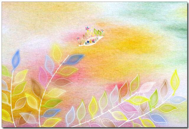 「旅立ち」 ほっこり癒しのイラストポストカード2枚組No.729の画像1枚目
