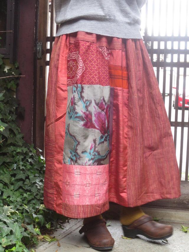 着物リメイク☆織のきれいな紬ロング丈スカート背の高い方に♪87㎝丈の画像1枚目