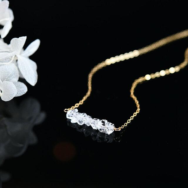 才能の種を咲かせる石 14KGF 最上級 ハーキマーダイヤモンド 氷雪 LUCKY 7ネックレス 4月誕生石の画像1枚目