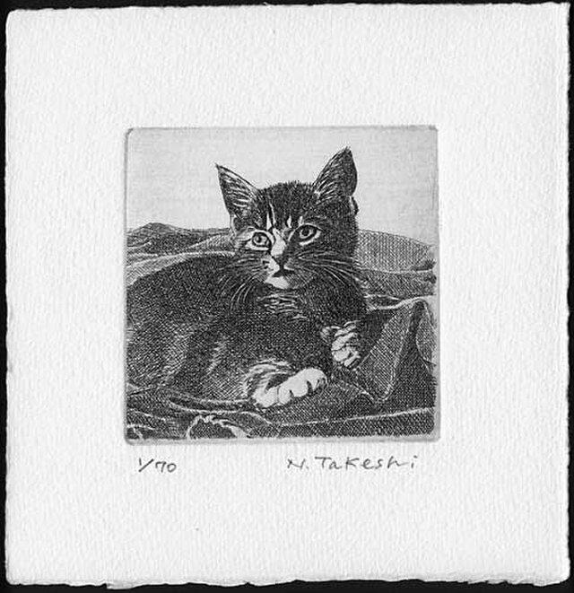 布の上の子猫/ 銅版画 (作品のみ)の画像1枚目