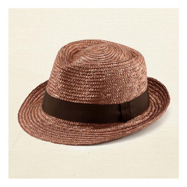 ノア 中折れ 麦わら帽子 ストローハット ブラウン 59cm [UK-H005-L-BR]の画像1枚目