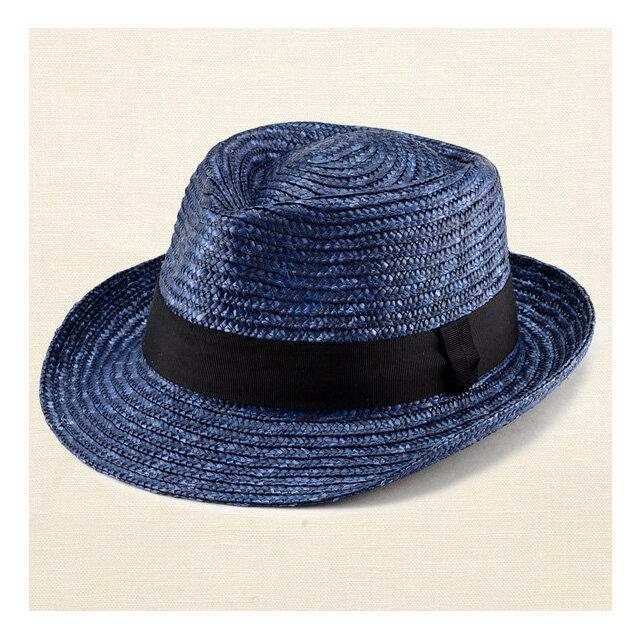 ノア 中折れ 麦わら帽子 ストローハット ブルー 57.5cm [UK-H005-M-BL]の画像1枚目