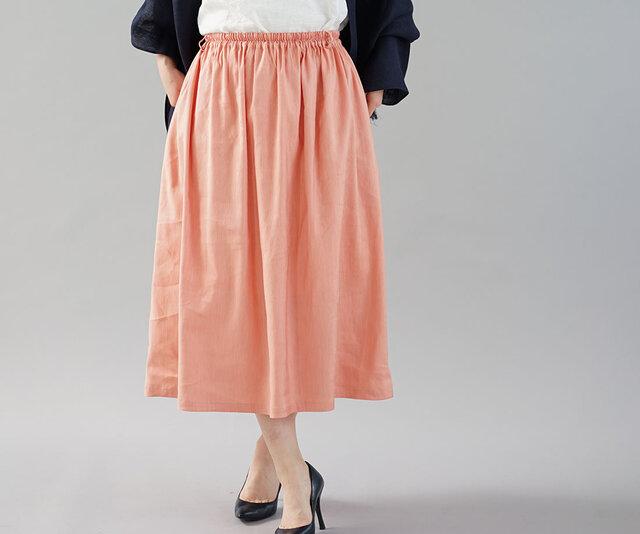 【wafu 入門編】リネンスカート リネン混紡 ギャザースカート ミモレ丈 / フラミンゴ s004b-fmg1の画像1枚目