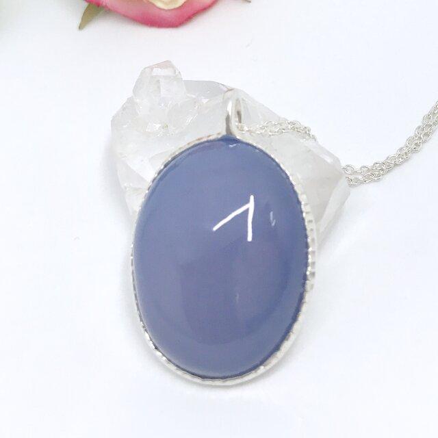 天然ブルーカルセドニー純銀ネックレス38.83ct☆アメリカコロラド州産原石から磨いた1点もの!の画像1枚目