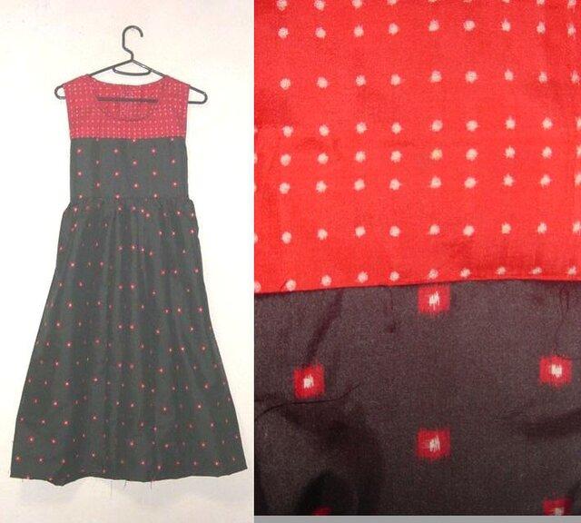 着物リメイク♪2種類のドット模様が可愛い銘仙デザインチュニックワンピース♪ハンドメイド・正絹・ドット模様・春待ちの画像1枚目