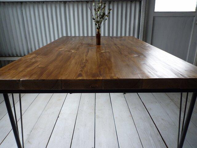 【送料無料】【組み立て不要】 アイアン ウッド ダイニングテーブル ベーシック の画像1枚目