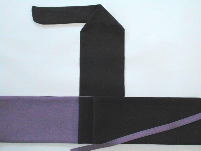 弓巻き 黒×紫江戸小紋 正絹の画像1枚目