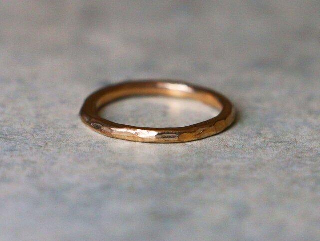 シンプル*ハンマード技法 指輪*8号 10K goldの画像1枚目