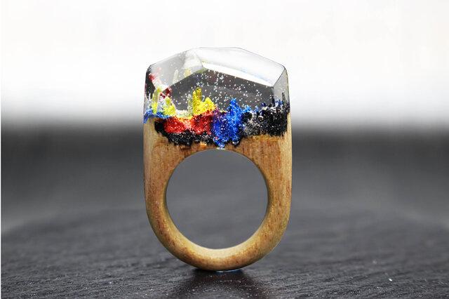【送料無料】Pop Mountain ~Resin Wood Ring~の画像1枚目