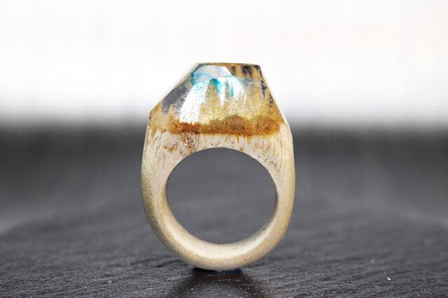 【送料無料】Transparent Sky ~Resin Wood Ring~の画像1枚目