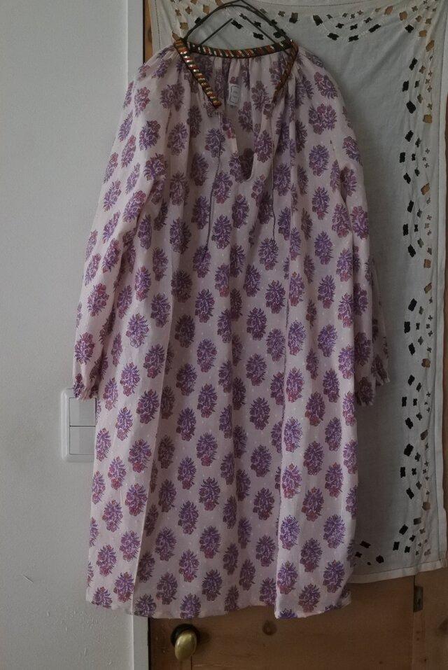 クリックポスト送料込インド綿木版プリントワンピース1の画像1枚目