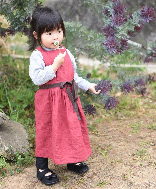 リネン エプロンドレス Kids Redの画像1枚目