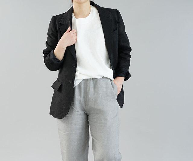 【wafu】中厚 リネン メンズ テーラード ジャケット 総裏仕様 裏地リネン 羽織/ ブラック 018e-bck2の画像1枚目
