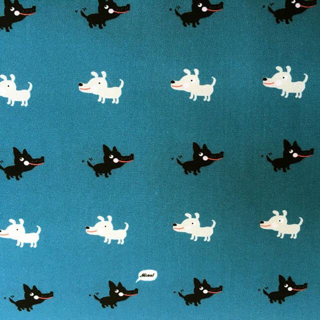 ドイツ パウリ オーガニックコットンカットクロス-ドッグ ティールブルー 犬の画像1枚目