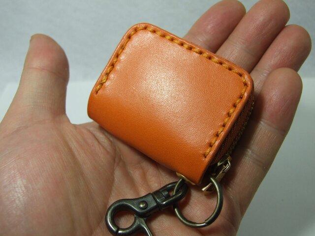 オレンジのミニファスナーコインケース の画像1枚目