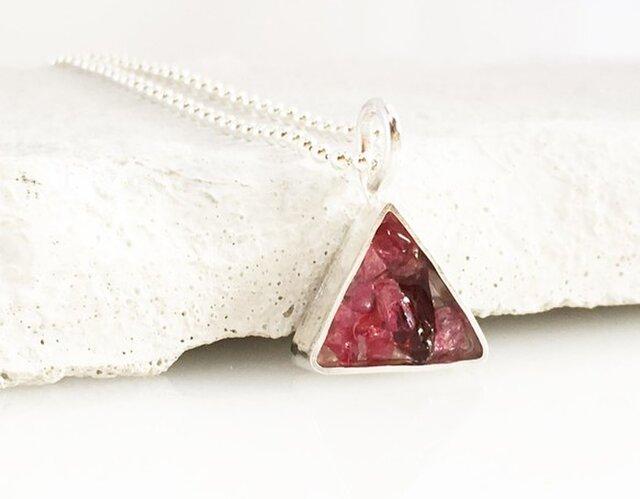 天然ピンクサファイア・スピネル原石◆Jewel Box Triangle SVペンダントの画像1枚目