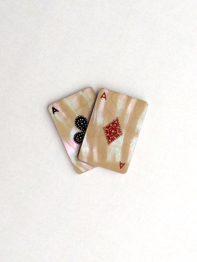 《現品限り》トランプ ブローチor帯留 (ダイヤ&クローバー) 螺鈿と漆の画像1枚目