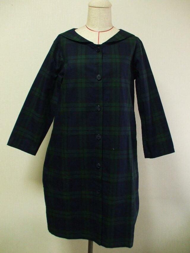 セーラー衿 長袖コート(裏地無し) M~Lサイズ 紺×グリーンチェック柄の画像1枚目