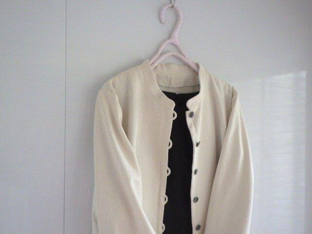 小さめカラーのジャッケト シルク オフホワイトの画像1枚目