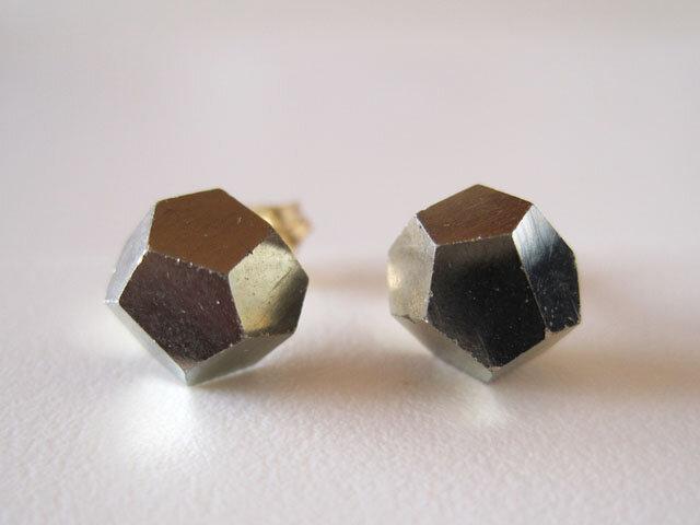 パイライトの原石ピアス/Pyrite/Spain  14kgfの画像1枚目