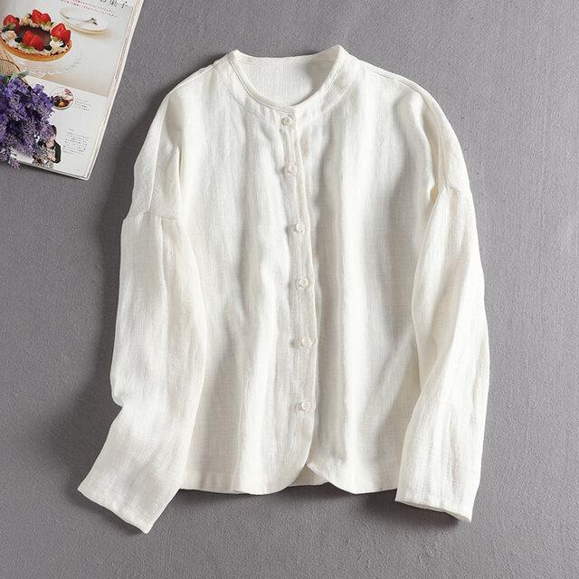リネン 着回せるホワイトブラウス 長袖シャツ 306-1の画像1枚目