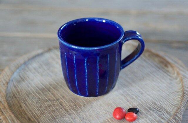 瑠璃釉 マグカップ(面)の画像1枚目