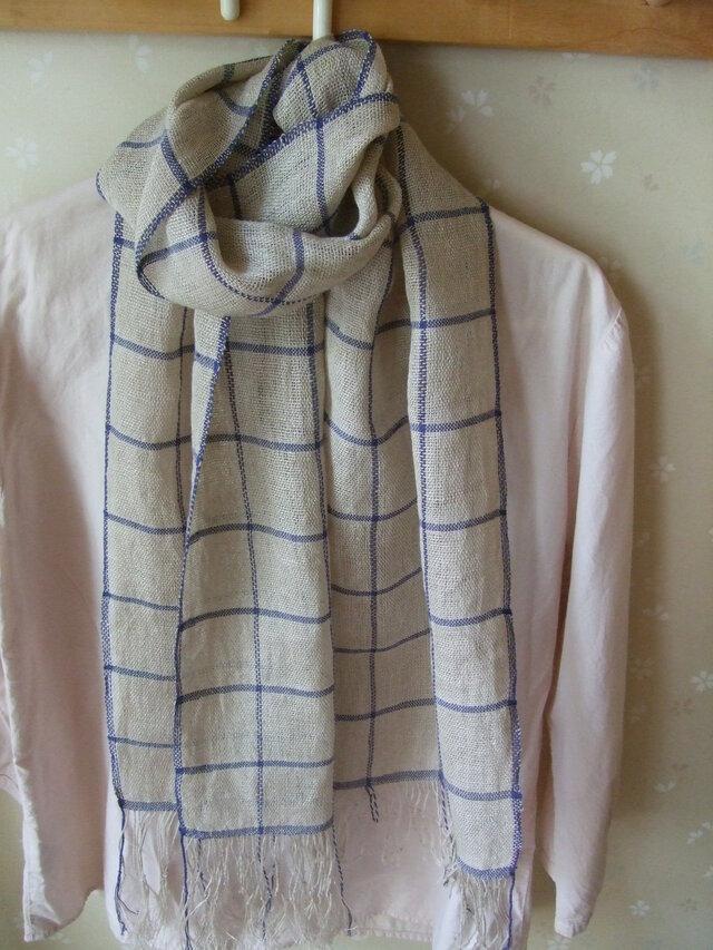 手織り麻ショールの画像1枚目