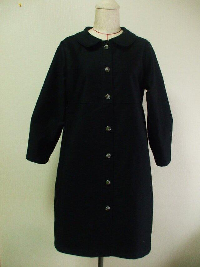 丸衿長袖コート(裏地無し)S~Mサイズ リバティタナローン 黒 綿素材  受注生産の画像1枚目