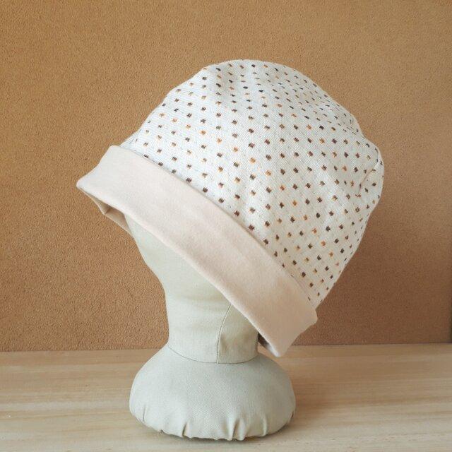 【値下げ】ニットのリバーシブル帽子*リトルスクエア(オレンジ×ブラウン)×ベージュの画像1枚目