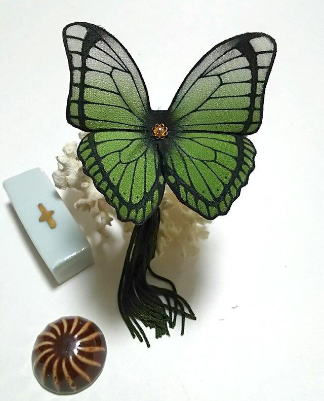 蝶のかんざし(大)モルフォの画像1枚目
