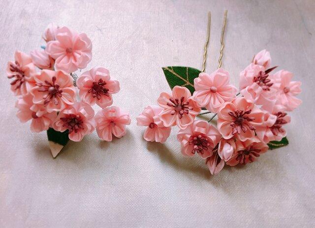 つまみ細工 桜の髪飾りセットNo.2の画像1枚目
