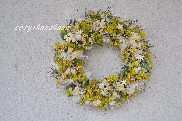 【母の日2019】イエローグリーンの野原wreathの画像1枚目