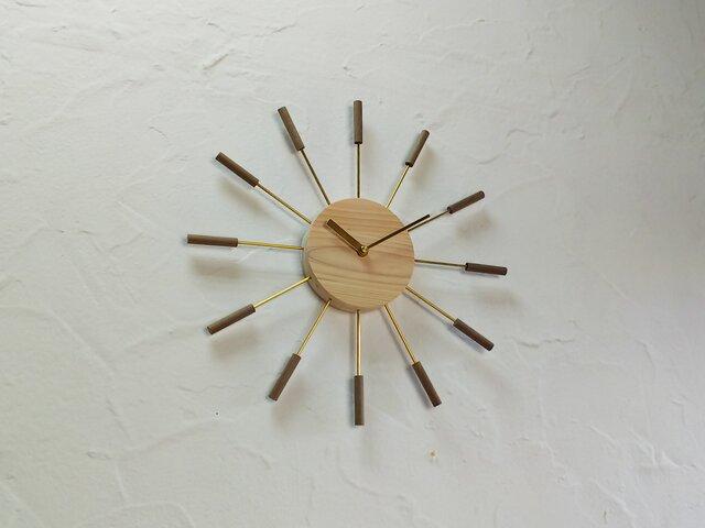 壁掛け時計 / 国産ヒノキ&ウォールナットの画像1枚目