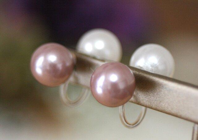 卒業式/入学式*2wayWfaceパールノンホールピアス 白・ピンク 卒園式 入園式 ウエディング 結婚式 真珠 ブライダルの画像1枚目