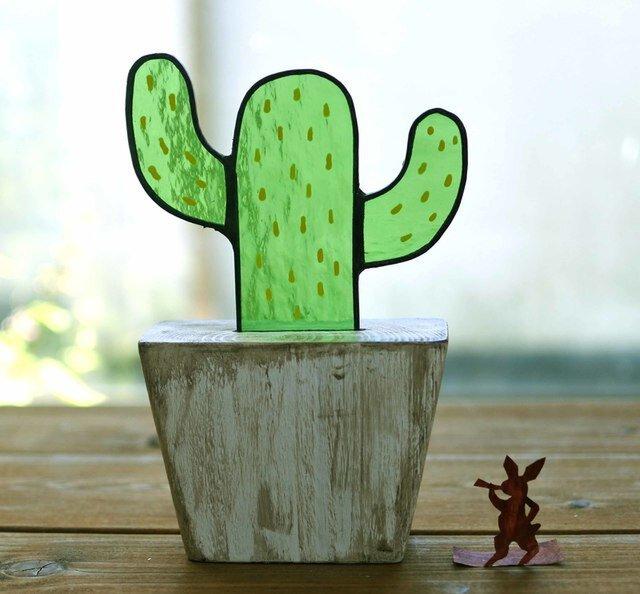 ステンドグラスのサボテンエイジング仕上げ メキシコサボテンの画像1枚目
