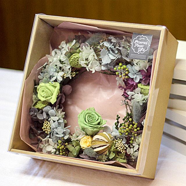 グリーン・グリーンリース プリザーブドフラワー リース 花 アレンジメント バラの画像1枚目