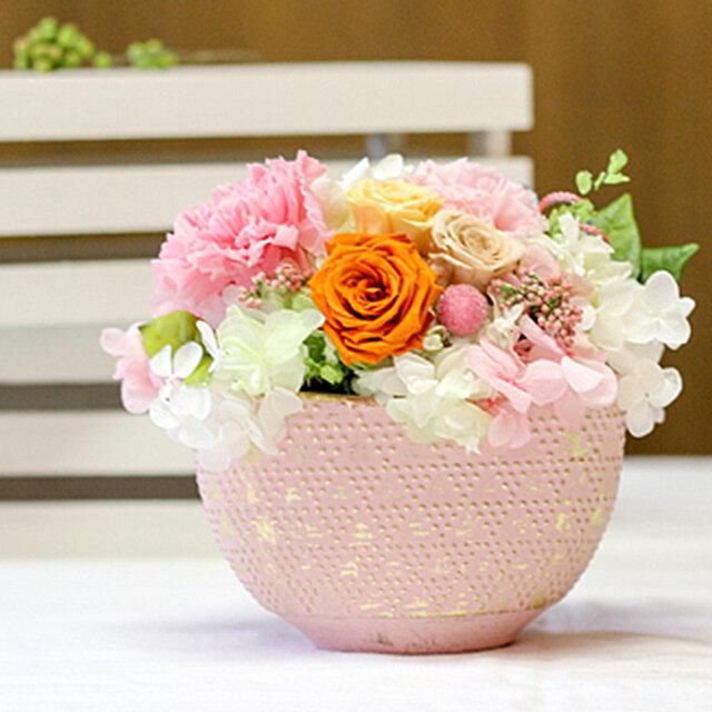 はんなり和・カーネーションとオレンジローズ カーネーション プリザーブドフラワー 花の画像1枚目