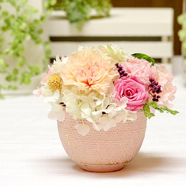 華小町~ピーチカラーのカーネーションとローズ カーネーション プリザーブドフラワー 花の画像1枚目