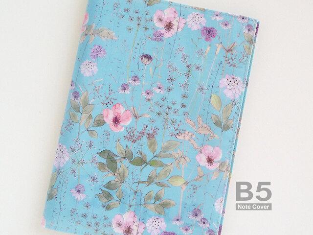 リバティ B5大学ノートカバー イルマ 水色とピンクの画像1枚目