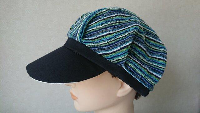 魅せる帽子☆【受注製作】軽くて涼しい♪サマーニットのバイカラーキャスケットの画像1枚目