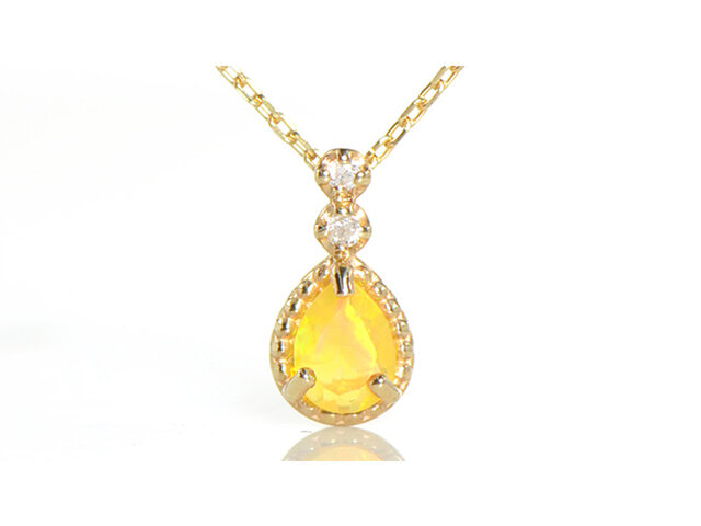 K10  エチオピアンオパール×ダイヤモンド ペンダント K10イエローゴールド YK-AV013の画像1枚目