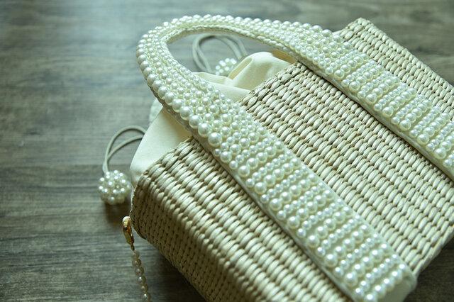【受注製作】パールの可愛い持ち手 編み込みかごバッグ 厳選素材と手織り TB993の画像1枚目