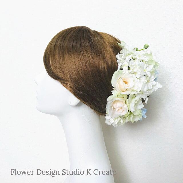 デルフィニュウムと薔薇のヘッドドレス(Uピン 13 本セット) 結婚式 ウェディングの画像1枚目