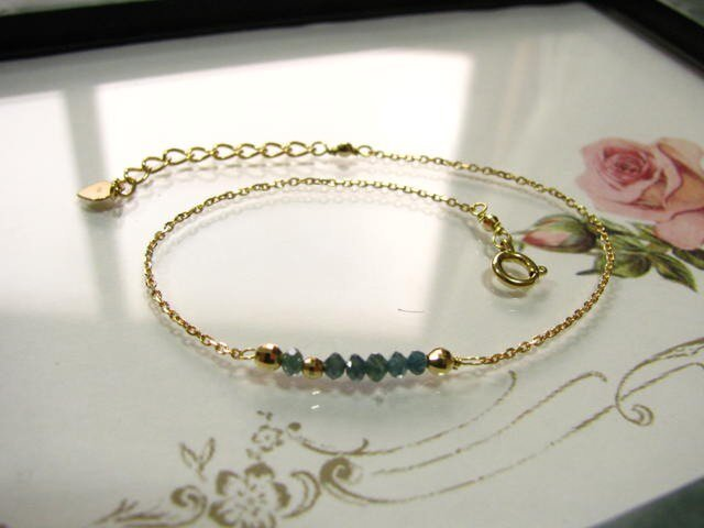 【sale】k18※ブルー(グリーン)ダイヤモンドブレスレットの画像1枚目
