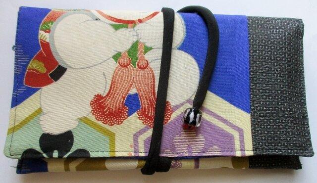 送料無料 男の子の四つ身と藍大島紬で作った和風財布・ポーチ 4191の画像1枚目