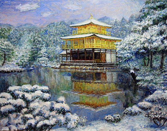 初雪の金閣寺寺の画像1枚目